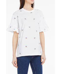 Victoria, Victoria Beckham | Hummingbird-Embroidered Ruffled T-Shirt