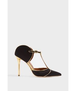 Malone Souliers | Mabel Trimmed Two-Tone Leather Mules