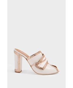 Malone Souliers | Imogen Leather-Trimmed Satin Pumps
