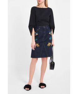 Victoria, Victoria Beckham | Embroidered Denim Skirt Boutique1