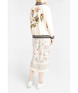 Vilshenko   Womens Bird And Flower-Embroide Bomber Jacket Boutique1