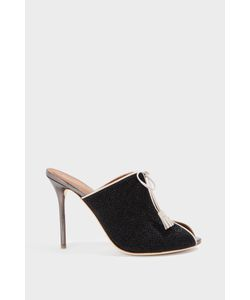 Malone Souliers | Dawn Leather-Trimmed Glittered Canvas Mules