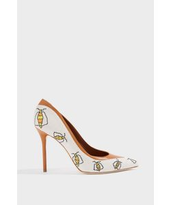 Malone Souliers | Anastasia Leather-Trimmed Embroidered Canvas Pumps