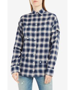 R13 | Undone Button Sleeve Plaid Shirt Boutique1