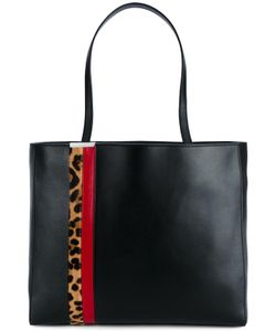 Tomasini   Leather Shopper Tote With Leopard Print Stripe