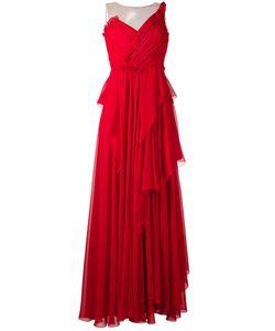 Alberta Ferretti | Draped Net-Insert Gown