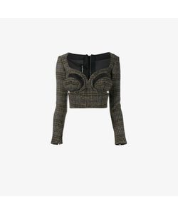 Y / Project | Cut Out Herringbone Cropped Knit Top