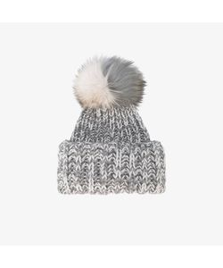 Inverni | Bi-Colour Wide Cashmere Hat With Fur Pom Pom