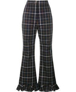 A.W.A.K.E.   A.W.A.K.E Checked Ruffle Hem Trousers