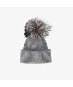 Inverni | Ribbed Cashmere Hat With Fur Pom Pom