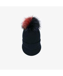 Inverni | Fox Fur Pom Pom Visor Beanie