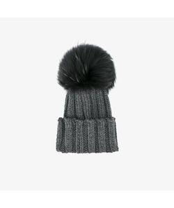 Inverni   Raccoon Fur Single Pom Pom Beanie Hat