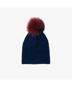Inverni | Two-Tone Fur Pom Pom Beanie
