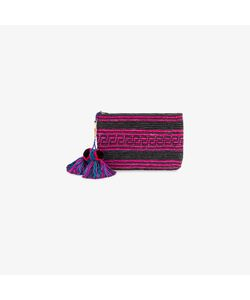 Yosuzi | Woven Canvas Pouch With Pompom Tassels