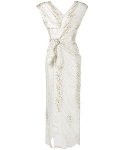 Alessandra Rich | Padded Shoulder Lace Gown