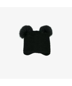 Inverni   Fox Fur Pom Pom Beanie Hat