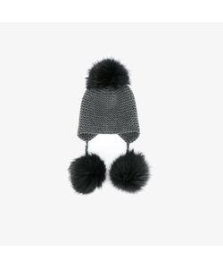 Inverni | Fox Fur Triple Pom Pom Beanie Hat