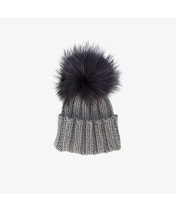 Inverni | Wide Ribbed Cashmere Hat With Fur Pom Pom