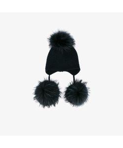 Inverni | Raccoon Fur Triple Pom Pom Beanie