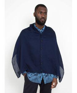 Engineered Garments | Button Shawl Navy Solid Gauze