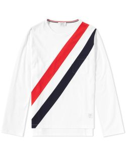 Thom Browne | Long Sleeve Diagonal Stripe Pocket Tee