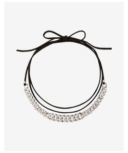 Express | Pave Status Link Wrap Choker Necklace