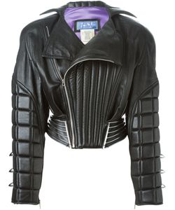Thierry Mugler Vintage | Leather Padded Bomber Jacket Women Small