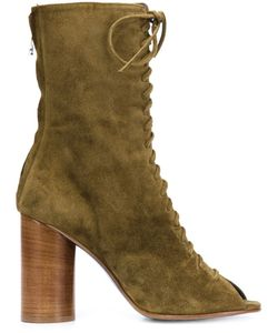 Valas | Peep-Toe Lace-Up Boots 6