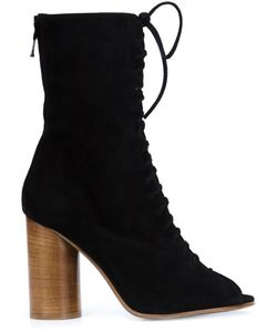 Valas | Peep-Toe Lace-Up Boots 8