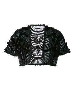 Oscar de la Renta | Embroidered Bolero Size Large Silk/Mink