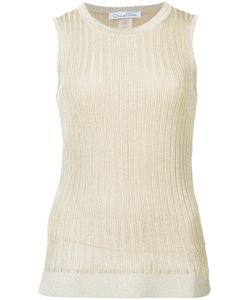 Oscar de la Renta | Jewel Neck Lace Stitch Tank Top