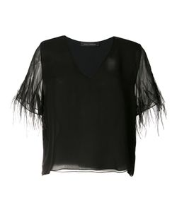 Sally Lapointe | Feather Sleeve Top