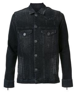 En Noir | Dirty Denim Trucker Jacket Large