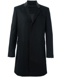Les Hommes | Long Studded Collar Coat 48 Viscose/Leather/Virgin