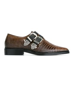 Toga Pulla | Buckled Embossed Pointed Toe Shoes 39
