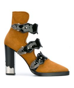 Toga Pulla   Buckle Strap Ankle Boots 40 Suede/Patent