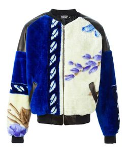 Andrea Crews | Panel Bomber Jacket Large Polyester/Lamb