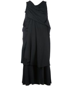 A Tentative Atelier | Pinstriped Draped Layered Dress Medium