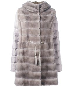 Liska | Mink Fur Hooded Puffer Coat Large Goose
