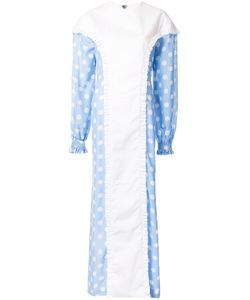 Jenny Fax   Ruffle Trim Polka Dot Long Dress