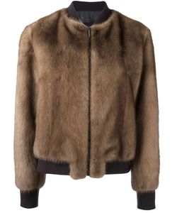 Blancha | Zip Up Bomber Jacket 42 Mink Fur/Viscose/Wool/Spandex/Elastane