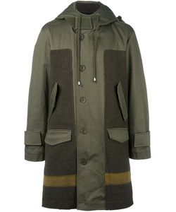 Cy Choi | Hooded Panelled Coat 48 Cotton/Polyurethane/Wool/Wool