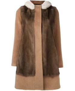 Blancha | Contrast Panel Coat 44 Mink Fur/Cupro/Mohair/Polyester