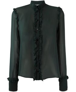 Amen | Ruffled Detail Sheer Shirt 42 Silk