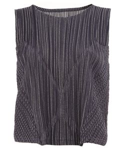 Pleats Please By Issey Miyake | Striped Effect Sleeveless Top