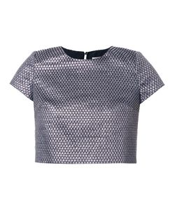 Ingie Paris | Woven Effect Crop T-Shirt 38 Polyester/Metallized