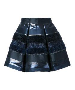 Ingie Paris   Textured Stripe Pleated Skirt 42 Polyester