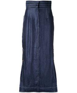 G.V.G.V. | Contrast Stitch Maxi Skirt 36 Nylon/Polyester/Rayon