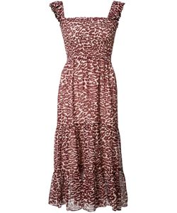 Piamita | Pleated Trim Leopard Print Dress Small