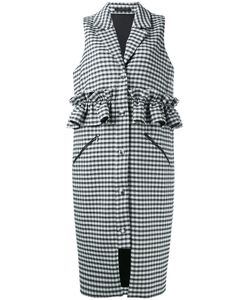Mother Of Pearl | Checked Ruffle-Trimmed Gilet Size Large
